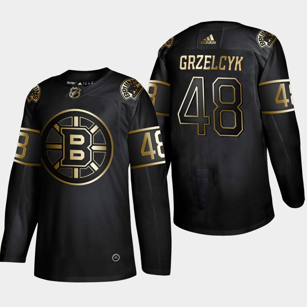Bruins 48 Matt Grzelcyk Black Gold Adidas Jeresey