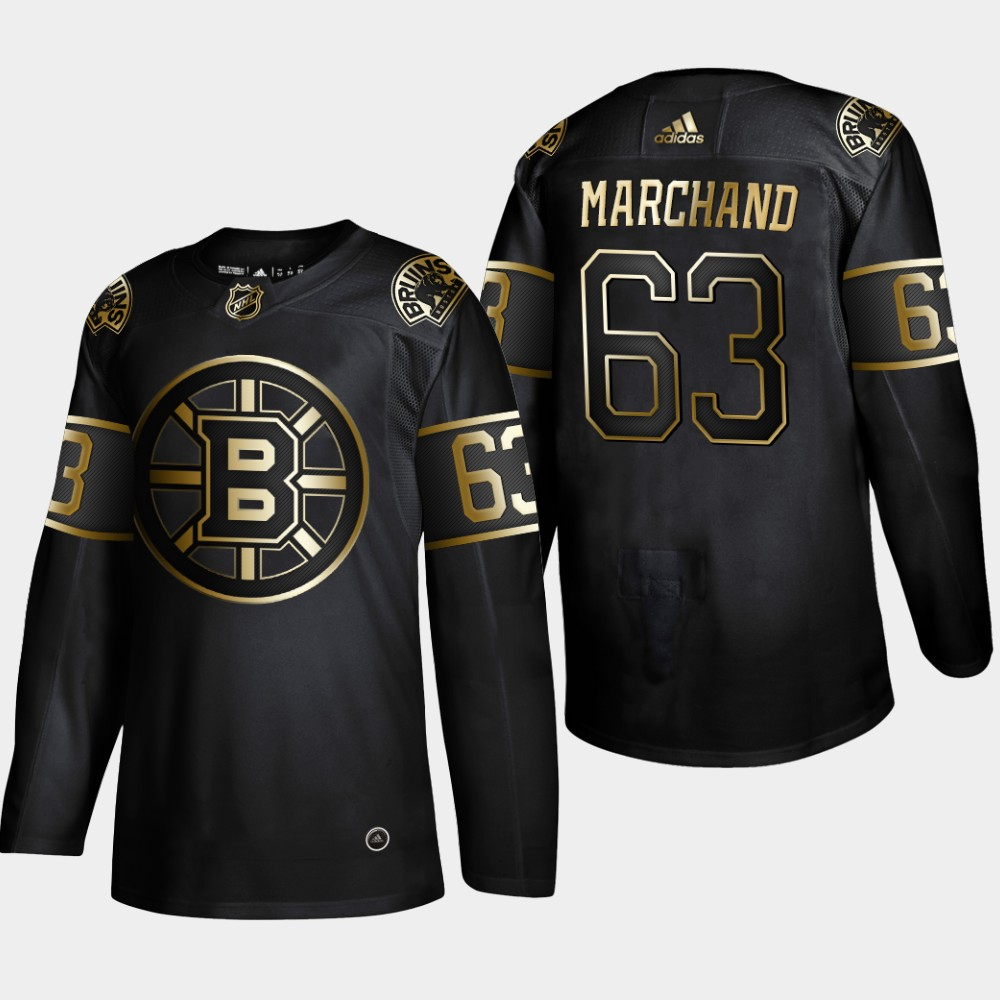 Bruins 63 Brad Marchand Black Gold Adidas Jersey