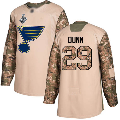 Men's St. Louis Blues #29 Vince Dunn 2019 Stanley Cup Final Camo Authentic 2017 Veterans Day Bound Stitched Hockey Jersey