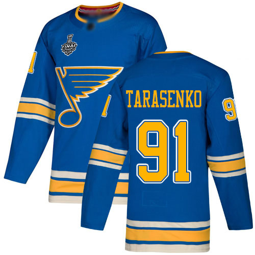 Men's St. Louis Blues #91 Vladimir Tarasenko 2019 Stanley Cup Final Blue Alternate Authentic Bound Stitched Hockey Jersey