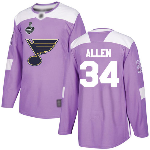 Men's St. Louis Blues #34 Jake Allen 2019 Stanley Cup Final Purple Authentic Fights Cancer Bound Stitched Hockey Jersey