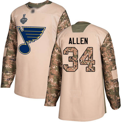 Men's St. Louis Blues #34 Jake Allen 2019 Stanley Cup Final Camo Authentic 2017 Veterans Day Bound Stitched Hockey Jersey