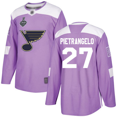 Men's St. Louis Blues #27 Alex Pietrangelo2019 Stanley Cup Final Purple Authentic Fights Cancer Bound Stitched Hockey Jersey