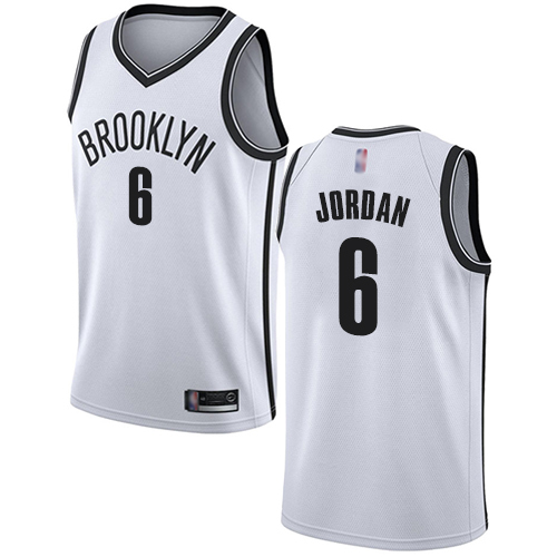 Nets #6 DeAndre Jordan White Basketball Swingman Association