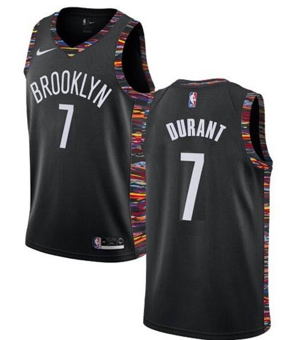 Mens Brooklyn Nets #7 Kevin Durant Nike Black City Edition 2019-20