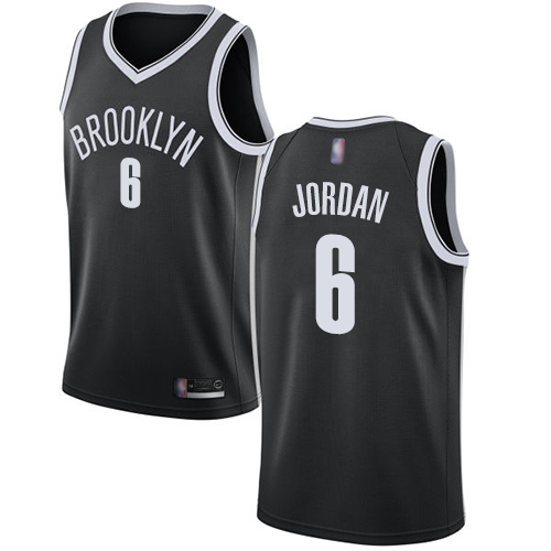 Nets #6 DeAndre Jordan Black Basketball Swingman Icon Edition