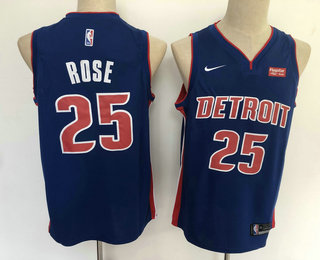 Men's Detroit Pistons #25 Derrick Rose New Blue 2019 Nike Swingman Stitched NBA Jersey With The Sponsor Logo
