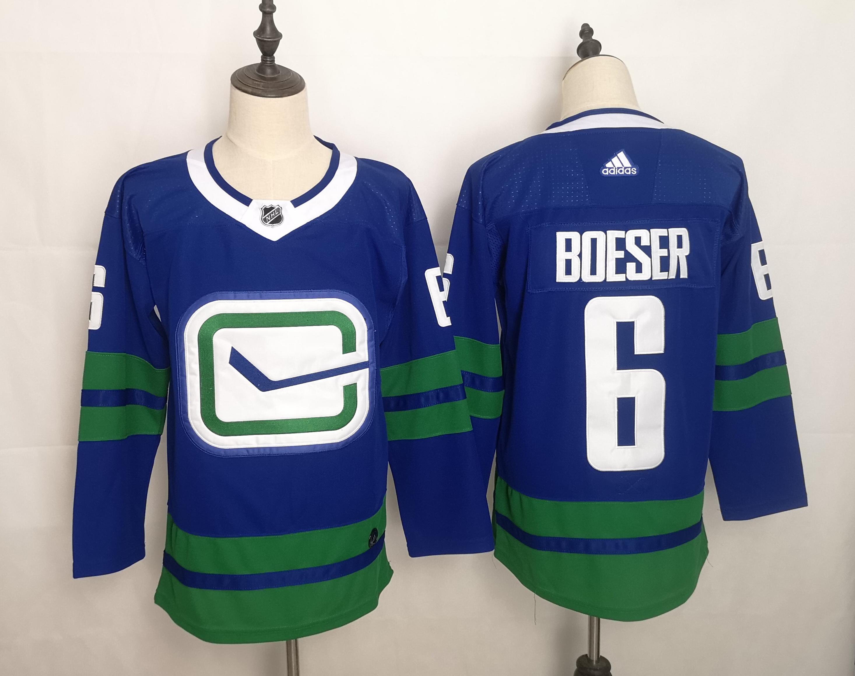 Canucks 6 Brock Boeser Blue Adidas Jersey