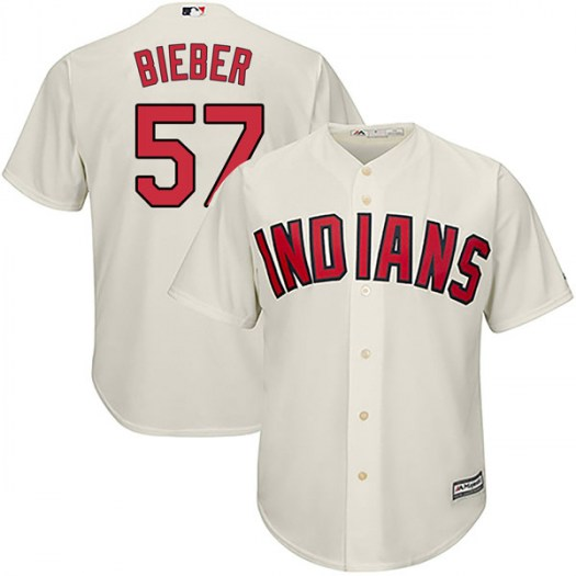 Men's Majestic #57 Shane Bieber Cleveland Indians Authentic Cream Cool
