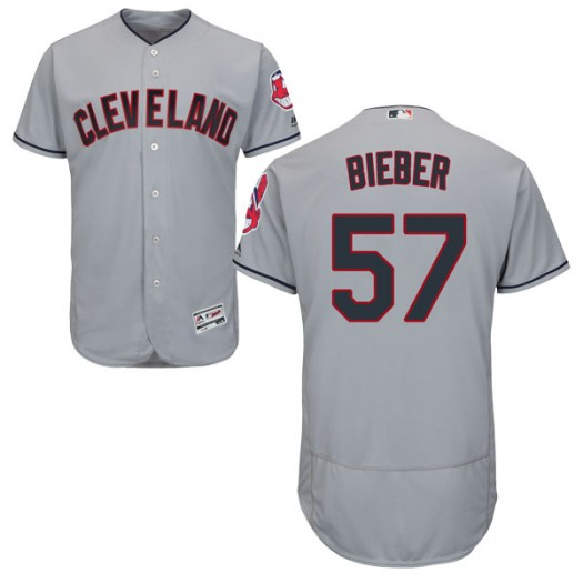Men's Majestic #57 Shane Bieber Cleveland Indians Authentic Gray Flex Base