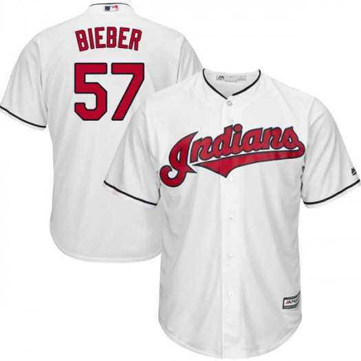 Men's Majestic #57 Shane Bieber Cleveland Indians Replica White Cool Base