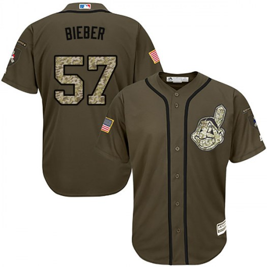 Men's Majestic #57 Shane Bieber Cleveland Indians Replica Green Salute to