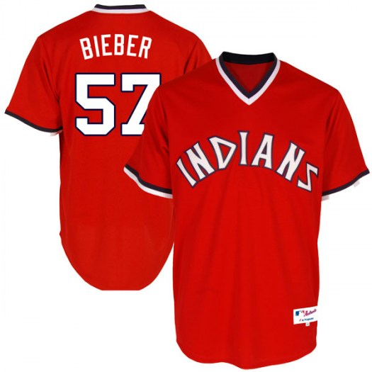 Men's Majestic #57 Shane Bieber Cleveland Indians Replica Red Turn Back the