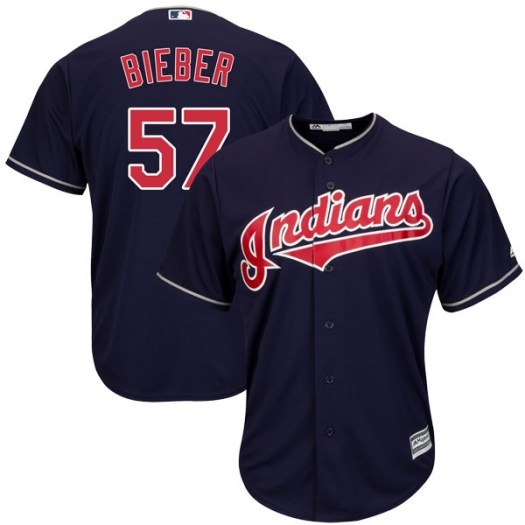 Men's Majestic #57 Shane Bieber Cleveland Indians Replica Navy Cool Base