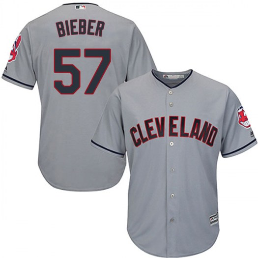 Men's Majestic #57 Shane Bieber Cleveland Indians Replica Gray Cool Base