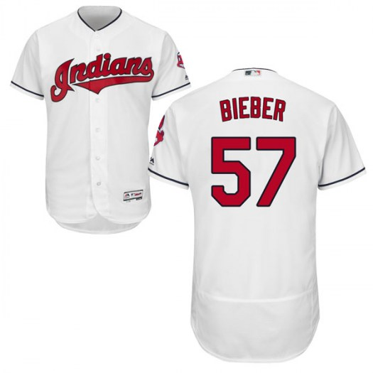 Men's Majestic #57 Shane Bieber Cleveland Indians Authentic White Flex Base