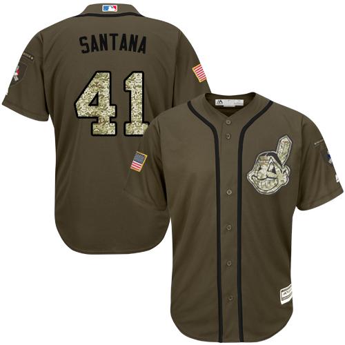 Indians #41 Carlos Santana Green Salute to Service Stitched Baseball