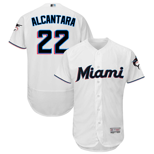 marlins #22 Sandy Alcantara White Flexbase Authentic Collection