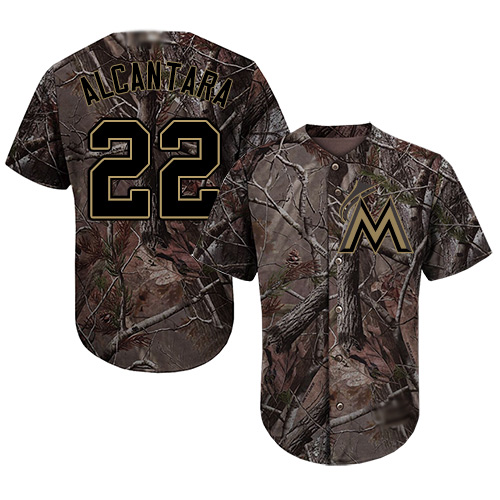 marlins #22 Sandy Alcantara Camo Realtree Collection Cool Base
