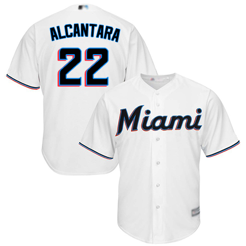 marlins #22 Sandy Alcantara White New Cool Base Stitched Baseball