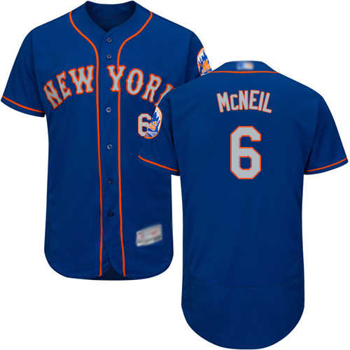 Mets #6 Jeff McNeil Blue(Grey NO.) Flexbase Authentic Collection
