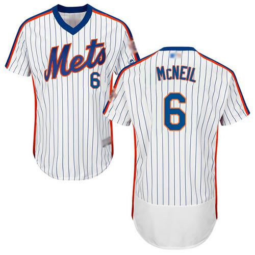 Mets #6 Jeff McNeil White(Blue Strip) Flexbase Authentic