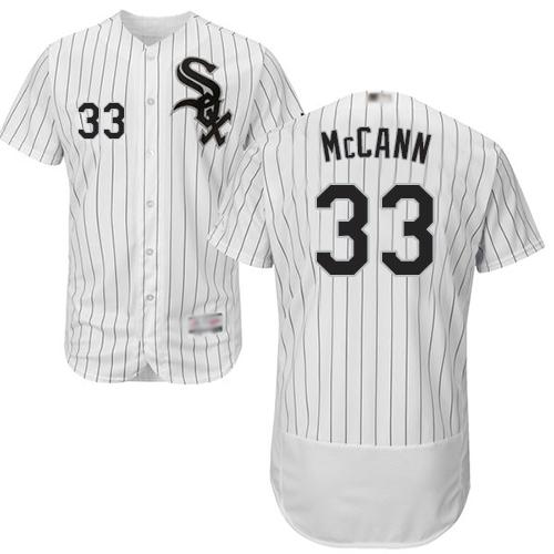 White Sox #33 James McCann White(Black Strip) Flexbase Authentic