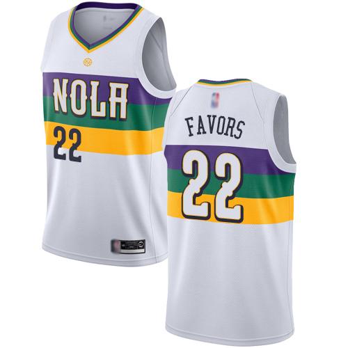 Pelicans #22 Derrick Favors White Basketball Swingman City Edition