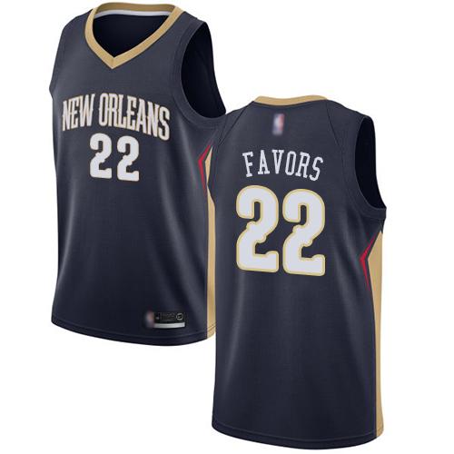 Pelicans #22 Derrick Favors Navy Basketball Swingman Icon Edition