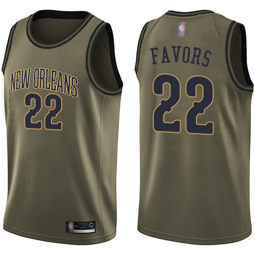 Pelicans #22 Derrick Favors Green Basketball Swingman Salute to