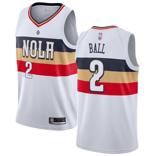 Pelicans #2 Lonzo Ball White Basketball Swingman Earned Edition