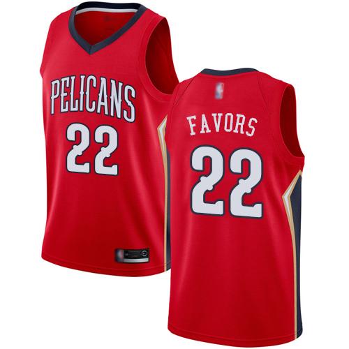 Pelicans #22 Derrick Favors Red Basketball Swingman Statement