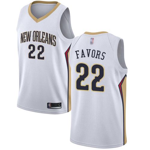 Pelicans #22 Derrick Favors White Basketball Swingman Association