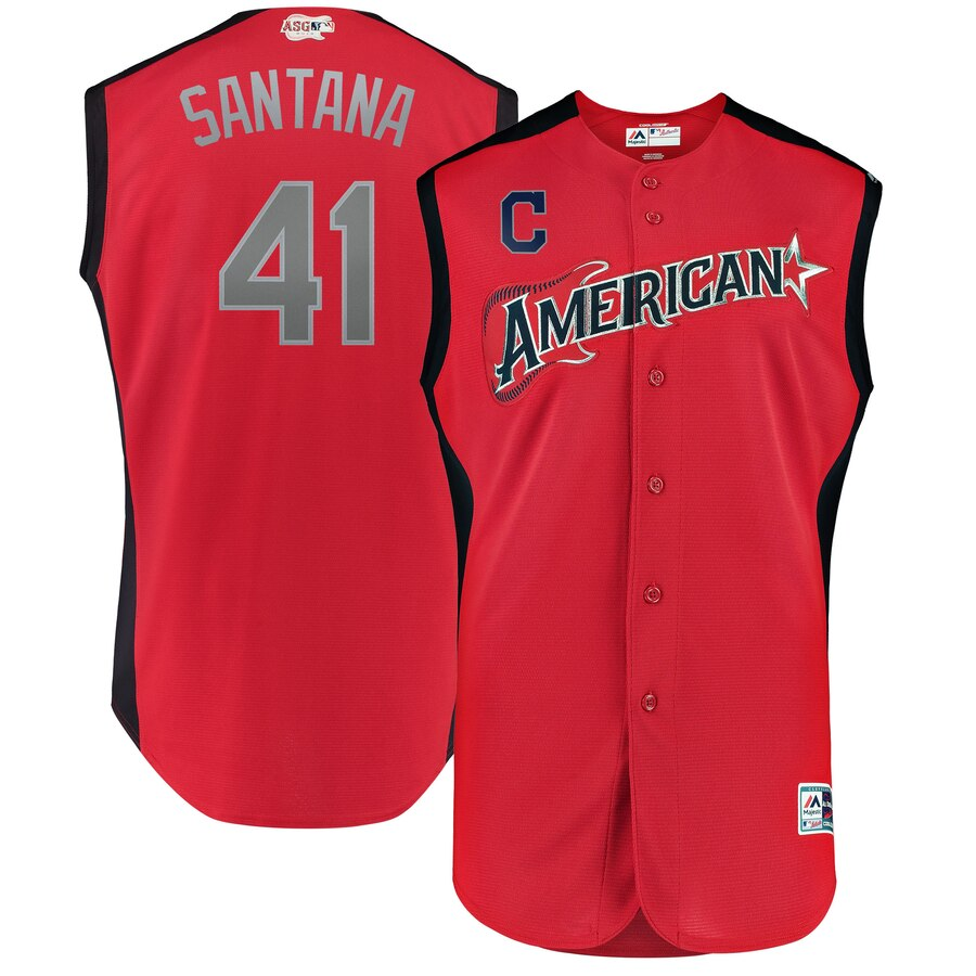 American League 41 Carlos Santana Red Youth 2019 MLB All-Star Game Workout Player