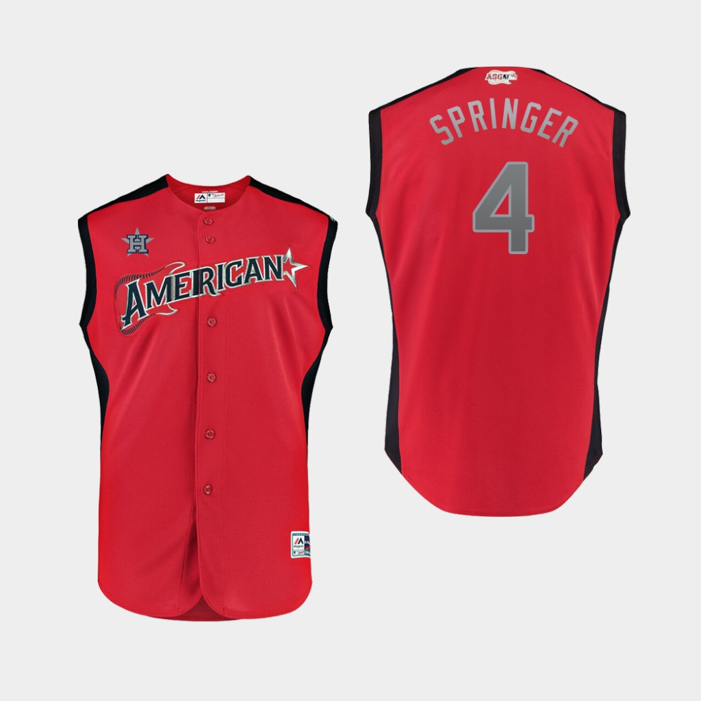 American League 4 George Springer Red Youth 2019 MLB All-Star Game Workout Player Jersey
