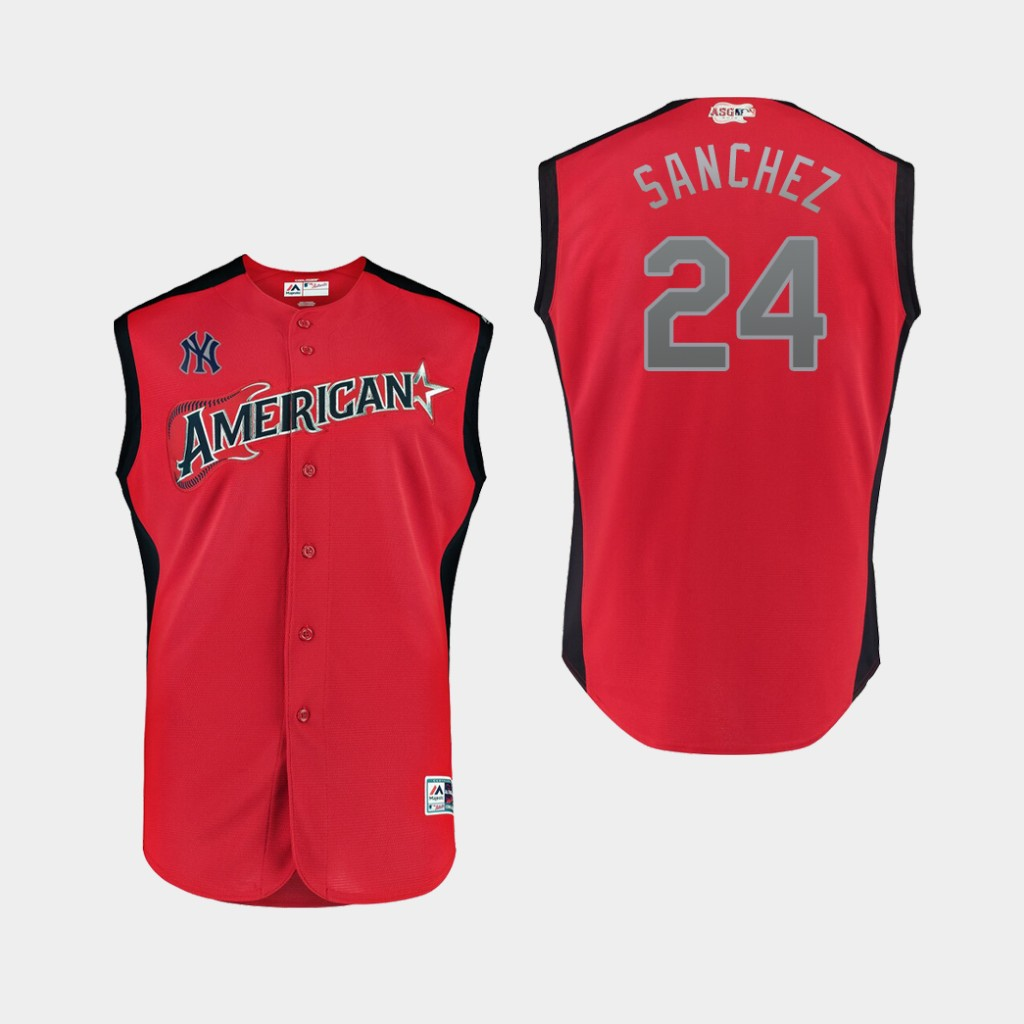 American League 24 Gary Sanchez Red Youth 2019 MLB All-Star Game Player Jersey