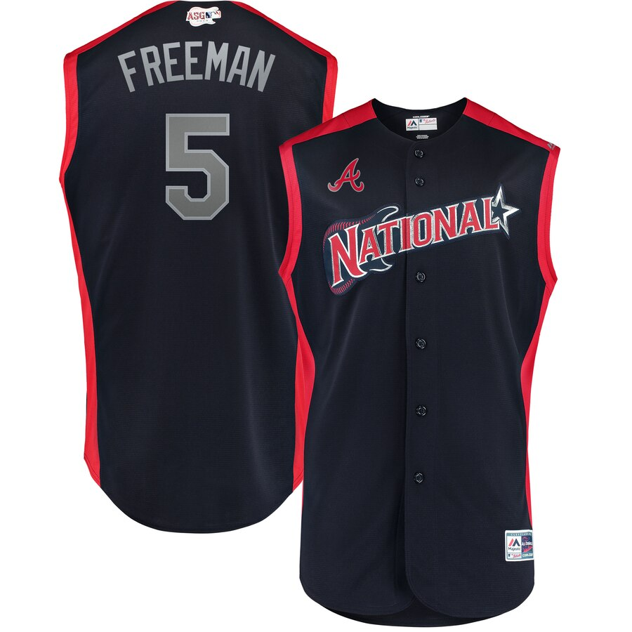 National League 5 Freddie Freeman Navy Youth 2019 MLB All-Star Game Workout Player