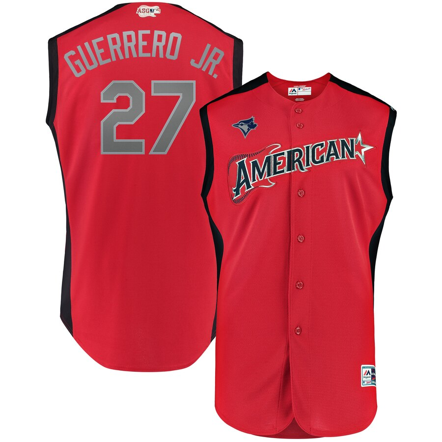 American League 27 Vladimir Guerrero Jr. Red Youth 2019 MLB All-Star Game Workout Player