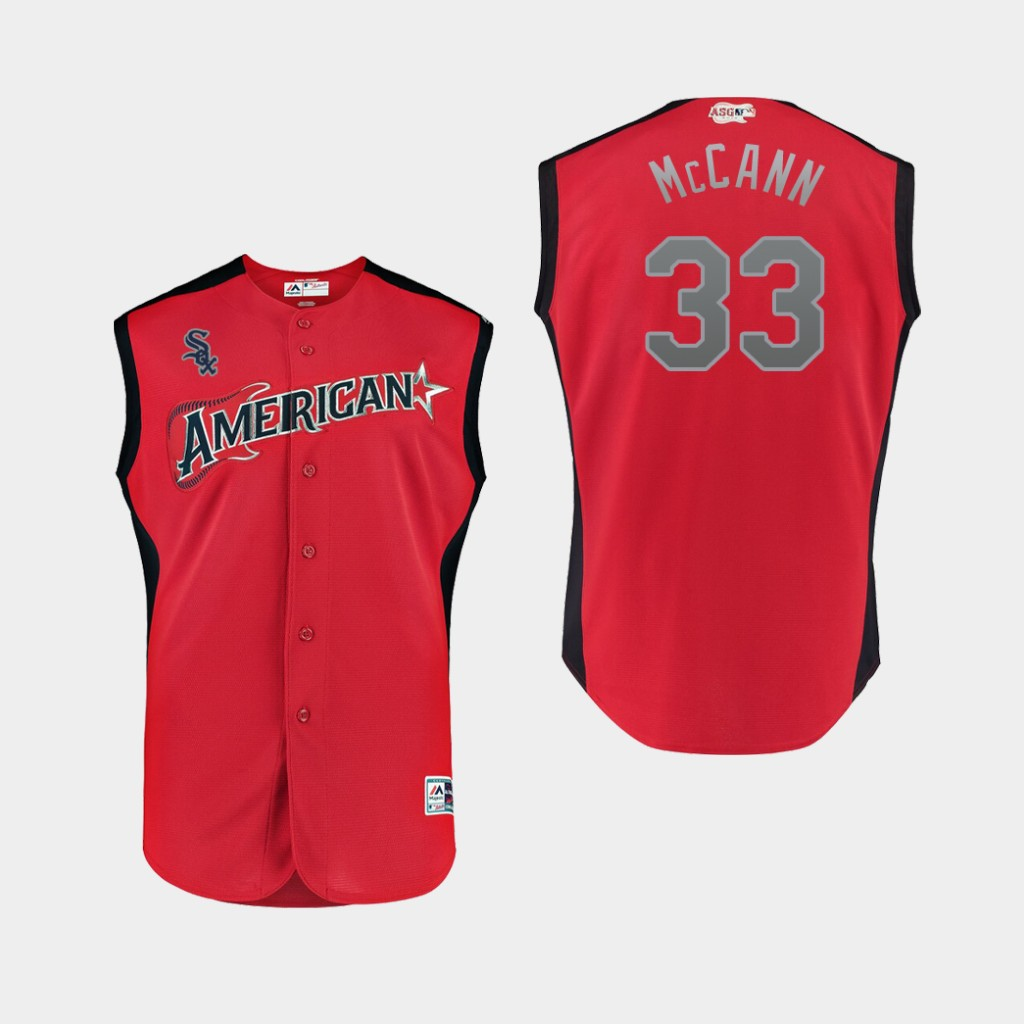 American League 33 James McCann Red Youth 2019 MLB All-Star Game Workout Player