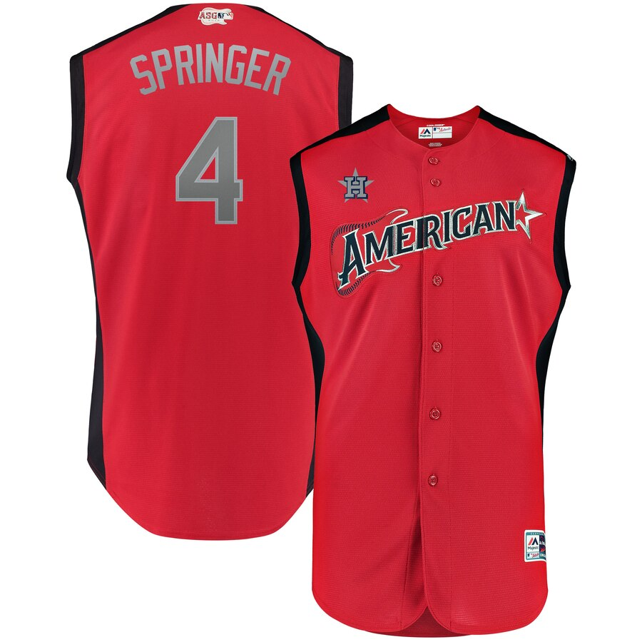 American League 4 George Springer Red 2019 MLB All-Star Game Workout Player Jersey