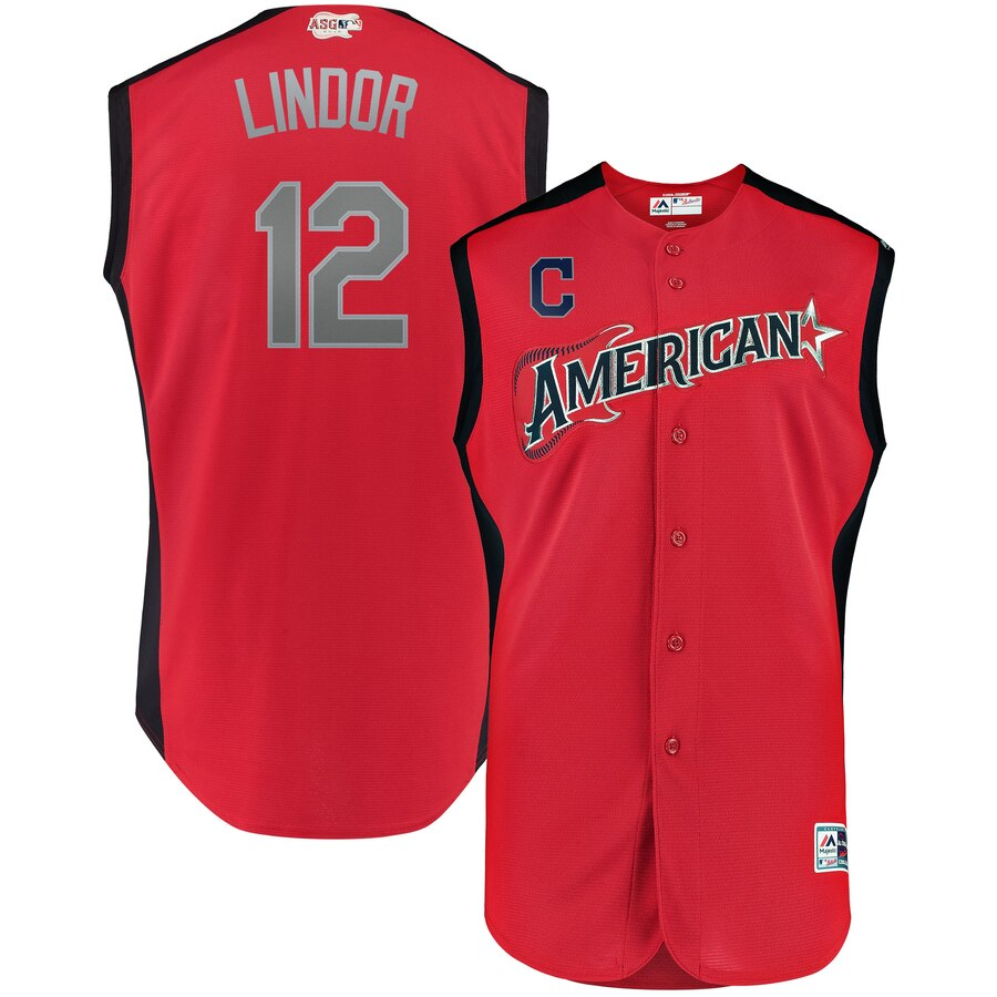 American League 12 Francisco Lindor Red 2019 MLB All-Star Game Workout Player Jersey