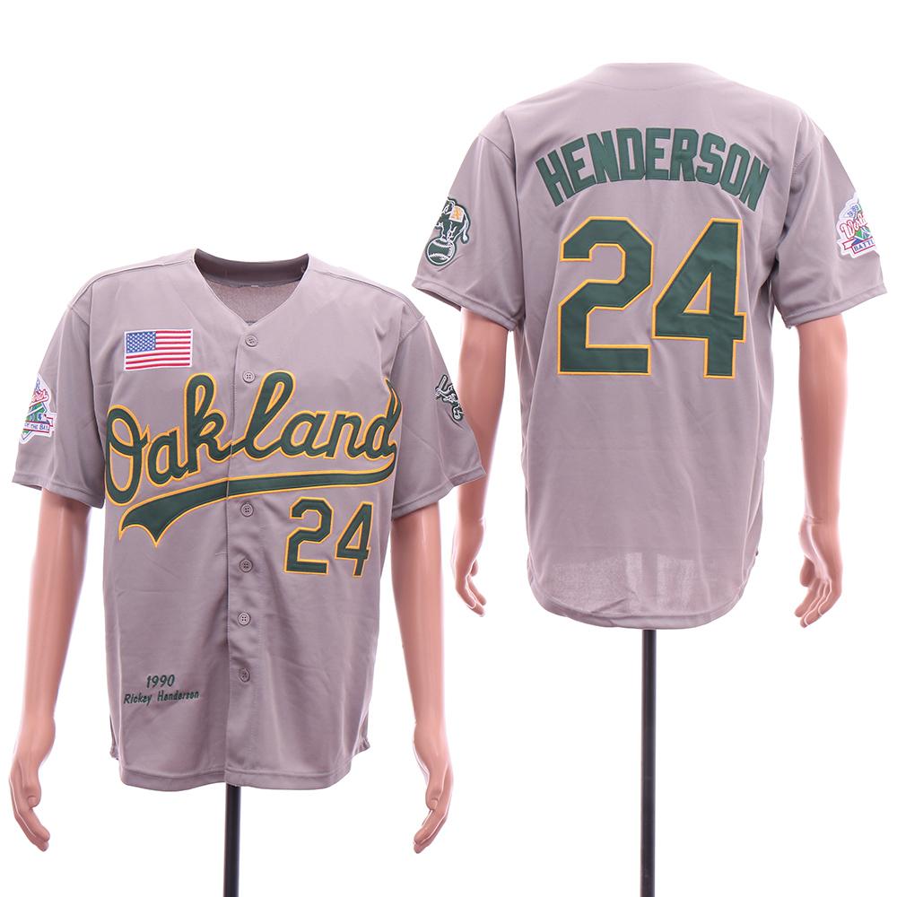 Athletics 24 Rickey Henderson Gray 1989 World Series Jersey