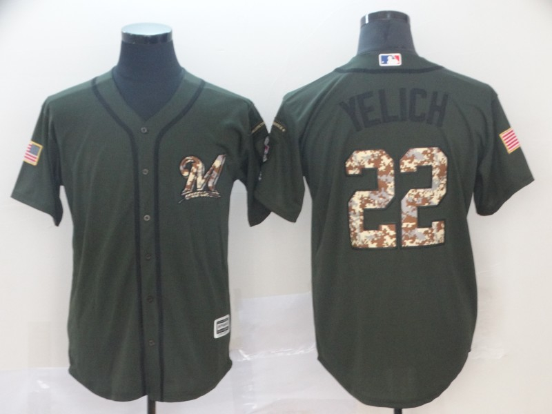Brewers 22 Christian Yelich Olive Camo Salute To Service Cool Base Jersey