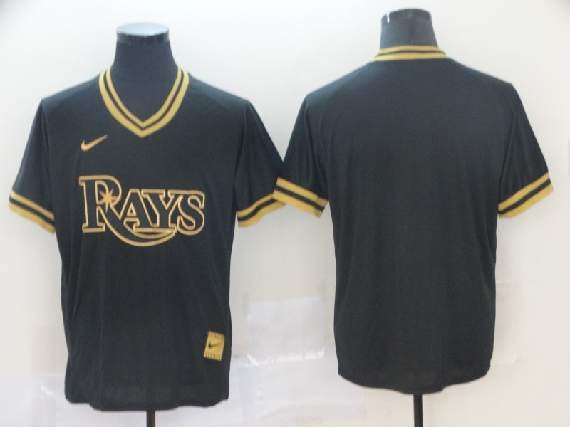 Rays Blank Black Gold Nike Cooperstown Collection Legend V Neck Jersey