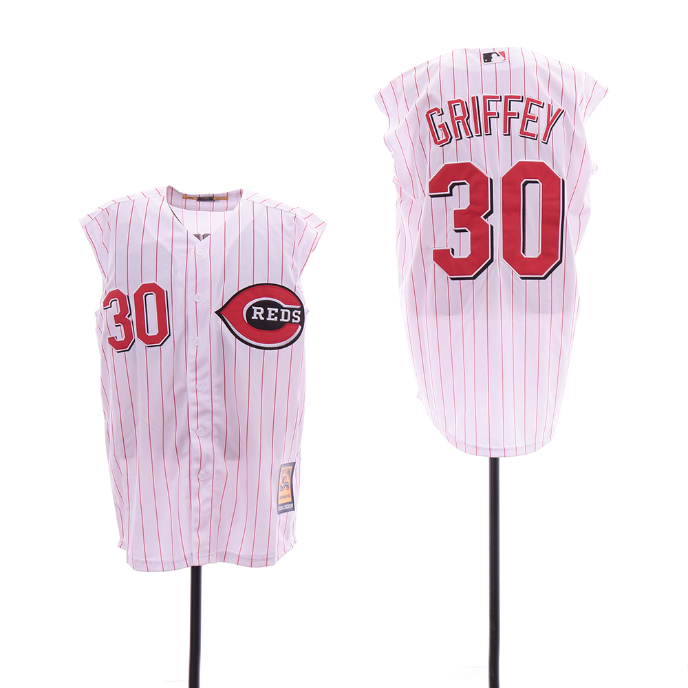 Reds 30 Ken Griffey White Cooperstown Collection Cool Base Sleeveless Jersey