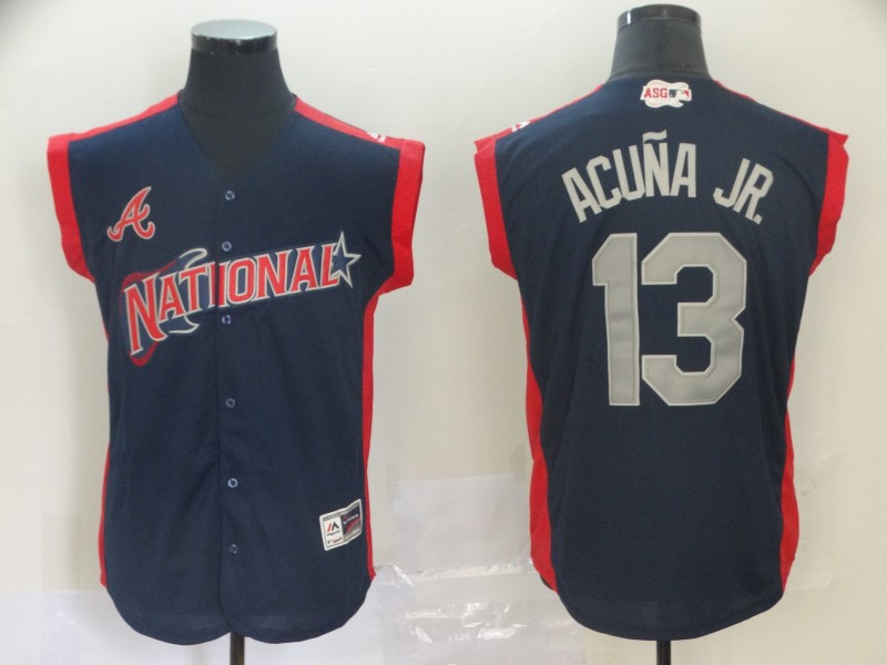 National League 13 Ronald Acuna Jr. Navy 2019 MLB All Star Game Player Jersey