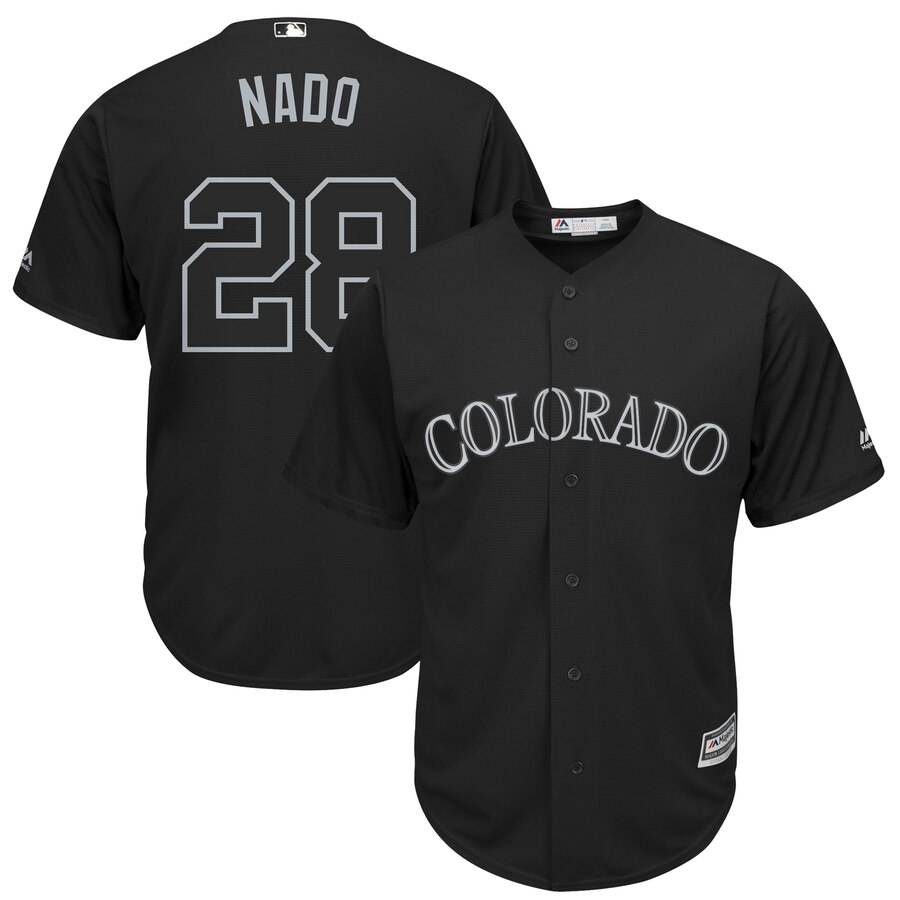 Rockies 28 Nolan Arenado Nado Black 2019 Players' Weekend Player Jersey