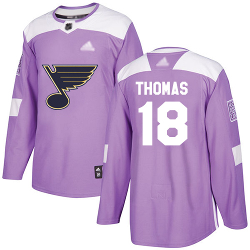 Blues #18 Robert Thomas Purple Authentic Fights Cancer Stitched Hockey