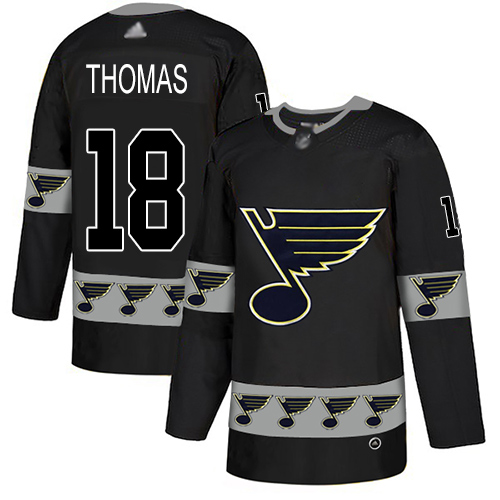 Blues #18 Robert Thomas Black Authentic Team Logo Fashion Stitched