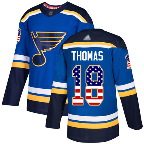 Blues #18 Robert Thomas Blue Home Authentic USA Flag Stitched Hockey